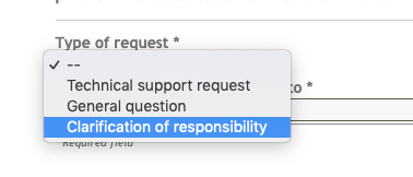 Submission of a clarification of responsibility (formerly